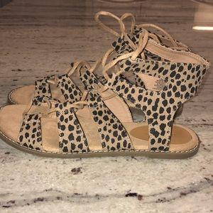 Leopardprint Lace up sandals/ Gladiator sandals